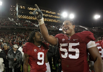 PALO ALTO, CA - NOVEMBER 27:  Jonathan Martin #55 and Richard Sherman #9 of the Stanford Cardinal celebrate after they beat the Oregon State Beavers at Stanford Stadium on November 27, 2010 in Palo Alto, California.  (Photo by Ezra Shaw/Getty Images)