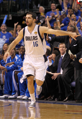 DALLAS, TX - JUNE 05:  Peja Stojakovic #16 of the Dallas Mavericks gestures as he runs up court against the Miami Heat in Game Three of the 2011 NBA Finals at American Airlines Center on June 5, 2011 in Dallas, Texas.  NOTE TO USER: User expressly acknowl