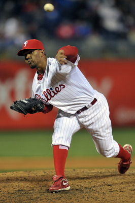 PHILADELPHIA, PA - APRIL 15: Antonio Bastardo #58 of the Philadelphia Phillies delivers a pitch during the game against the Florida Marlins at Citizens Bank Park on April 15, 2011 in Philadelphia, Pennsylvania. The Marlins won 4-3. (Photo by Drew Hallowel