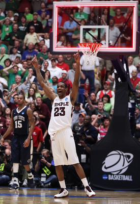 TUCSON, AZ - MARCH 17:  Ramone Moore #23 of the Temple Owls celebrates after they defeated the Penn State Nittany Lions 66 to 64 in the second round of the 2011 NCAA men's basketball tournament at McKale Center on March 17, 2011 in Tucson, Arizona.  (Phot