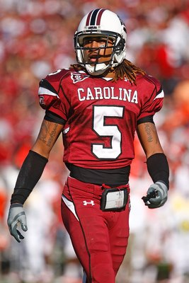 COLUMBIA, SC - NOVEMBER 28:  Stephon Gilmore #5 of the South Carolina Gamecocks runs off the field during the game against the Clemson Tigers at Williams-Brice Stadium on November 28, 2009 in Columbia, South Carolina.  (Photo by Scott Halleran/Getty Image