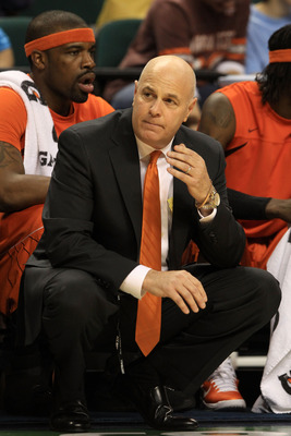 GREENSBORO, NC - MARCH 11:  Head coach Seth Greenberg of the Virginia Tech Hokies reacts during the first half of the game against the Florida State Seminoles in the quarterfinals of the 2011 ACC men's basketball tournament at the Greensboro Coliseum on M