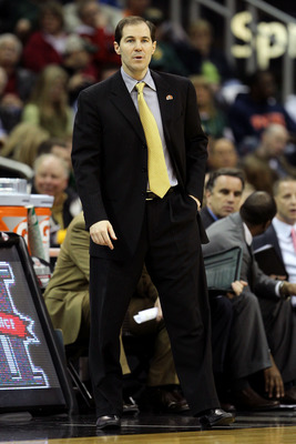 KANSAS CITY, MO - MARCH 09:  Head coach Scott Drew of the Baylor Bears looks on from the sidelines during their game against the Oklahoma Sooners in the first round of the 2011 Phillips 66 Big 12 Men's Basketball Tournament at Sprint Center on March 9, 20