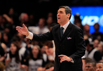 NEW YORK, NY - MARCH 08:  Head coach Jay Wright of the Villanova Wildcats gestures from the bench against the South Florida Bulls during the first round of the 2011 Big East Men's Basketball Tournament presented by American Eagle Outfitters at Madison Squ