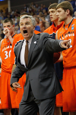 TULSA, OK - MARCH 20:  Head coach Bruce Weber of the Illinois Fighting Illini yells from the sidelines during the third round game against the Kansas Jayhawks in the 2011 NCAA men's basketball tournament at BOK Center on March 20, 2011 in Tulsa, Oklahoma.