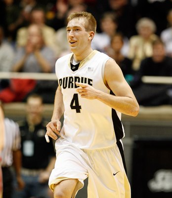 WEST LAFAYETTE, IN - JANUARY 12:  Robbie Hummel #4 of the Purdue Boilermakers runs during the Big Ten game against the Ohio State Buckeyes at Mackey Arena on January 12, 2010 in West Lafayette, Indiana. Ohio State won 70-66.  (Photo by Andy Lyons/Getty Im