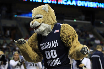 NEW ORLEANS, LA - MARCH 24:  The Brigham Young Cougars mascot entertains the crowd during their game against the Florida Gators in the Southeast regional of the 2011 NCAA men's basketball tournament at New Orleans Arena on March 24, 2011 in New Orleans, L