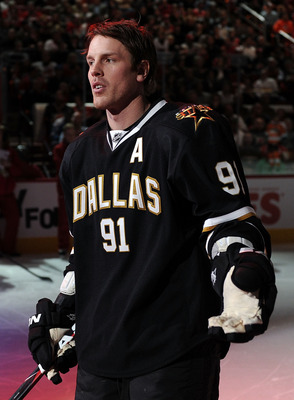 RALEIGH, NC - JANUARY 29:  Brad Richards #91 of the Dallas Stars is introduced during the Honda NHL SuperSkills competition part of 2011 NHL All-Star Weekend at the RBC Center on January 29, 2011 in Raleigh, North Carolina.  (Photo by Harry How/Getty Imag