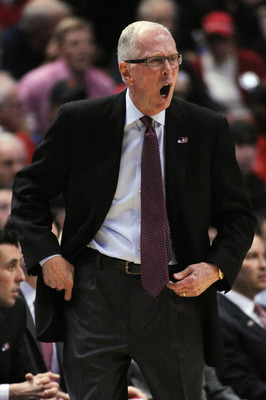 ANAHEIM, CA - MARCH 24:  Head coach Steve Fisher of the San Diego State Aztecs shouts from the sidelines during the west regional semifinal of the 2011 NCAA men's basketball tournament at the Honda Center on March 24, 2011 in Anaheim, California.  (Photo