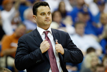 TULSA, OK - MARCH 20:  Head coach Sean Miller of the Arizona Wildcats stands on the sidelines during the third round game against the Texas Longhorns in the 2011 NCAA men's basketball tournament at BOK Center on March 20, 2011 in Tulsa, Oklahoma.  (Photo