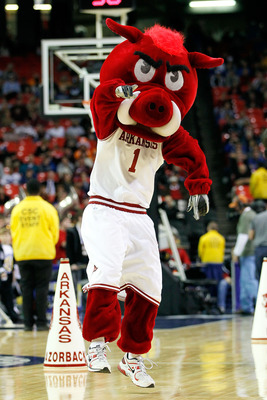 ATLANTA, GA - MARCH 10:  Arkansas Razorbacks mascot Big Red performs during their game against the Tennessee Volunteers in the first round of the SEC Men's Basketball Tournament at the Georgia Dome on March 10, 2011 in Atlanta, Georgia.  (Photo by Kevin C