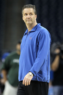 HOUSTON, TX - APRIL 01:  Head coach John Calipari of the Kentucky Wildcats looks on during practice prior to the 2011 Final Four of the NCAA Division I Men's Basketball Tournament at Reliant Stadium on April 1, 2011 in Houston, Texas.  (Photo by Andy Lyon