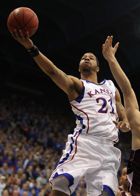 LAWRENCE, KS - MARCH 02:  Markieff Morris #21 of the Kansas Jayhawks shoots during the game against the Texas A&M Aggies on March 2, 2011 at Allen Fieldhouse in Lawrence, Kansas.  (Photo by Jamie Squire/Getty Images)