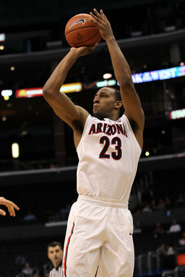 LOS ANGELES, CA - MARCH 10:  Derrick Williams #23 of the Arizona Wildcats shoots a three-pointer against the Oregon State Beavers in the second half in the quarterfinals of the 2011 Pacific Life Pac-10 Men's Basketball Tournament at Staples Center on Marc
