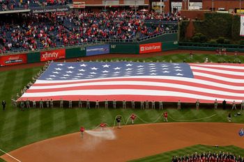 PHILADELPHIA, PA - APRIL 01: Ceremonies during opening day at Citizens Bank Park between the Philadelphia Phillies and the Houston Astroson April 1, 2011 in Philadelphia, Pennsylvania.  (Photo by Rob Carr/Getty Images)