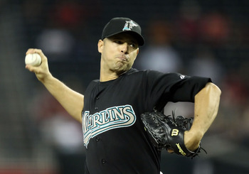 PHOENIX, AZ - JUNE 01:  Starting pitcher Javier Vazquez #23 of the Florida Marlins pitches against the Arizona Diamondbacks during the Major League Baseball game at Chase Field on June 1, 2011 in Phoenix, Arizona.  (Photo by Christian Petersen/Getty Image