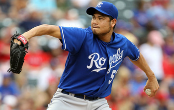 ARLINGTON, TX - APRIL 24:  Pitcher Bruce Chen #52 of the Kansas City Royals throws against the Texas Rangers at Rangers Ballpark in Arlington on April 24, 2011 in Arlington, Texas.  (Photo by Ronald Martinez/Getty Images)
