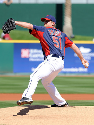 GOODYEAR, AZ - MARCH 11:  Mitch Talbot #51 of the Cleveland Indians delivers a pitch against the Seattle Mariners at Goodyear Ballpark on March 11, 2011 in Goodyear, Arizona.  (Photo by Norm Hall/Getty Images)