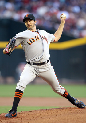 PHOENIX, AZ - APRIL 16:  Starting pitcher Barry Zito #75 of the San Francisco Giants pitches against the Arizona Diamondbacks during the Major League Baseball game at Chase Field on April 16, 2011 in Phoenix, Arizona.  (Photo by Christian Petersen/Getty I