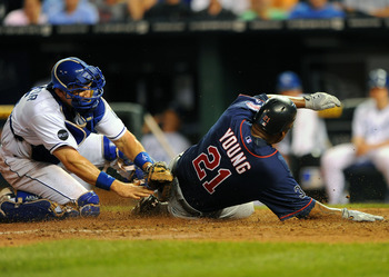 Matt Treanor makes a tag at the plate.