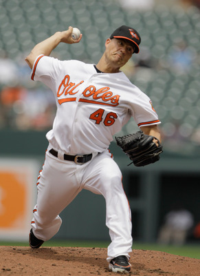 BALTIMORE, MD - JUNE 05:  Starting pitcher Jeremy Guthrie #46 of the Baltimore Orioles delivers to a Toronto Blue Jays batter during the second inning at Oriole Park at Camden Yards on June 5, 2011 in Baltimore, Maryland.  (Photo by Rob Carr/Getty Images)