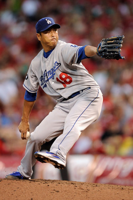 CINCINNATI, OH - JUNE 3:  Hiroki Kuroda #18 of the Los Angeles Dodgers pitches against the Cincinnati Reds at Great American Ball Park on June 3, 2011 in Cincinnati, Ohio. Kuroda was credited with the loss as the Reds defeated the Dodgers 2-1.  (Photo by