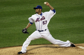 NEW YORK - AUGUST 28:  Johan Santana #57 of the New York Mets delivers a pitch against the Houston Astros on August 28, 2010 at Citi Field in the Flushing neighborhood of the Queens borough of New York City.  (Photo by Jim McIsaac/Getty Images)