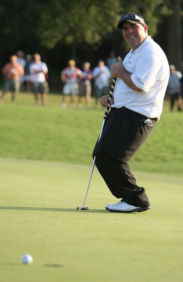 GREENSBORO, NC - AUGUST 23:  Kevin Stadler reacts to missing a putt on the 18th hole during a sudden death playoff in the final round of the Wyndham Championship at Sedgefield Country Club on August 23, 2009 in Greensboro, North Carolina  (Photo by Street