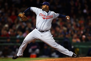 BOSTON - OCTOBER 12:  Starting pitcher C.C. Sabathia #52 of the Cleveland Indians pitches during Game One of the American League Championship Series against the Boston Red Sox at Fenway Park on October 12, 2007 in Boston, Massachusetts.  (Photo by Elsa/Ge