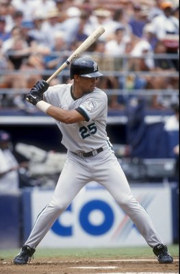 9 Aug 1998:  Derrek Lee #25 of the Florida Marlins gets ready to swing  during the game against the San Diego Padres at Qualcomm Stadium in San Diego, California. The Padres defeated the Marlins 6-5. Mandatory Credit: Tom Hauck  /Allsport