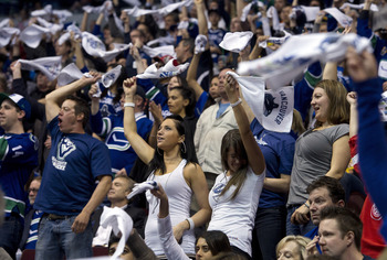 VANCOUVER, CANADA - APRIL 28: Vancouver Canucks fans wave their white rally towels during the third period in Game One of the Western Conference Semifinals between the Vancouver Canucks and the Nashville Predators during the 2011 NHL Stanley Cup Playoffs