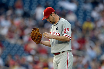 WASHINGTON, DC - MAY 31:  Starting pitcher Cliff Lee #33 of the Philadelphia Phillies after giving up three runs to the Washington Nationals at Nationals Park on May 31, 2011 in Washington, DC. The Braves won 2-0. (Photo by Rob Carr/Getty Images)
