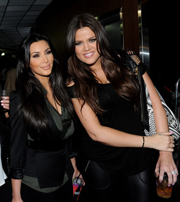 LOS ANGELES, CA - JUNE 06:  Television personalities Kim Kardashian (L) and Khloe Kardashian attend Game 2 of the NBA Finals between the Los Angeles Lakers and Boston Celtics at the Staples Center on June 6, 2010 in Los Angeles, California.  (Photo by Mic