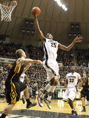 WEST LAFAYETTE, IN - JANUARY 09:  JaJuan Johnson #25 of the Purdue Boilermakers shoots the ball during the Big Ten Conference game against the Iowa Hawkeyes at Mackey Arena on January 9, 2011 in West Lafayette, Indiana.  Purdue won 75-52.  (Photo by Andy
