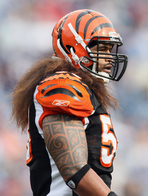 FOXBORO, MA - SEPTEMBER 12:  Rey Maualuga #58 of the Cincinnati Bengals walks off the field in the second half against the New England Patriots during the NFL season opener on September 12, 2010 at Gillette Stadium in Foxboro, Massachusetts. The Patriots