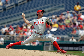 WASHINGTON, DC - JUNE 01: Starting pitcher Roy Oswalt #44 of the Philadelphia Phillies delivers to a Washington Nationals batter at Nationals Park on June 1, 2011 in Washington, DC. (Photo by Rob Carr/Getty Images)
