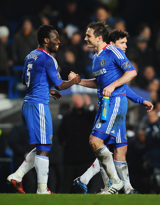 LONDON, ENGLAND - MARCH 01:  Frank Lampard (R) of Chelsea celebrates victory with Michael Essien after the Barclays Premier League match between Chelsea and Manchester United at Stamford Bridge on March 1, 2011 in London, England.  (Photo by Clive Mason/G