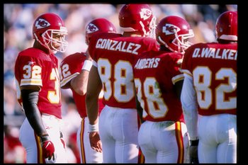 9 Nov 1997:  Running back Marcus Allen #32 of the Kansas City Chiefs looks on during a game against the Jacksonville Jaguars at Alltell Stadium in Jacksonville, Florida.  The Jaguars won the game 24-10. Mandatory Credit: Andy Lyons  /Allsport