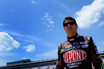 CHARLOTTE, NC - MAY 20:  Jeff Gordon, driver of the #24 DuPont Chevrolet, walks in the garage area during practice for the NASCAR Sprint All-Star Race at Charlotte Motor Speedway on May 20, 2011 in Charlotte, North Carolina.  (Photo by Jared C. Tilton/Get