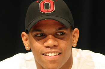 Terrelle Pryor announcing his decision to attend Ohio State on March 19, 2008