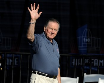 CANTON, OH - AUGUST 2: Len Dawson of the Kansas City Chiefs  greets fans before the Class of 2008 Pro Football Hall of Fame Enshrinement Ceremony at Fawcett Stadium on August 2, 2008 in Canton, Ohio.   (Photo by Al Messerschmidt/Getty Images)