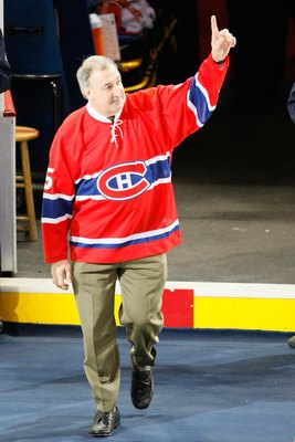 MONTREAL- JANUARY 8:  Former Montreal Canadiens player Guy Lapointe waves to fans during pre-game ceremonies before the game between the Toronto Maple Leafs and the Montreal Canadiens at the Bell Centre on January 08, 2009 in Montreal, Quebec, Canada.   T