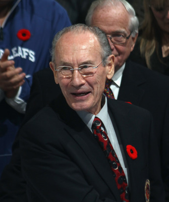 TORONTO, ON - NOVEMBER 06: Pierre Pilote attends a ceremony prior to the game between the Toronto Maple Leafs and the Buffalo Sabres at the Air Canada Centre on November 6, 2010 in Toronto, Canada.  (Photo by Bruce Bennett/Getty Images)