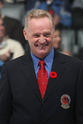 TORONTO, ON - NOVEMBER 08:  Hockey Hall of Famer Larry Robinson looks on before the Toronto Maple Leafs game against the Montreal Canadiens on November 8, 2008 at the Air Canada Centre in Toronto, Ontario, Canada.  (Photo by Bruce Bennett/Getty Images)