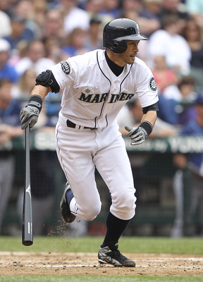 SEATTLE - JUNE 05:  Ichiro Suzuki #51 of the Seattle Mariners watches his triple in the third inning against the Tampa Bay Rays at Safeco Field on June 5, 2011 in Seattle, Washington. (Photo by Otto Greule Jr/Getty Images)