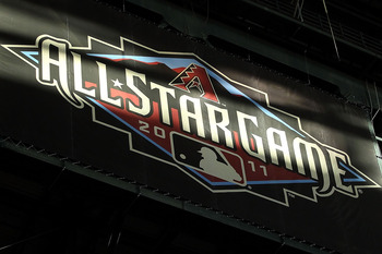 PHOENIX, AZ - JUNE 04:  Sunlight hits a logo for the 2011 MLB All Star Game during the Major League Baseball game between the Washington Nationals and the Arizona Diamondbacks at Chase Field on June 4, 2011 in Phoenix, Arizona.  The Diamondbacks defeated