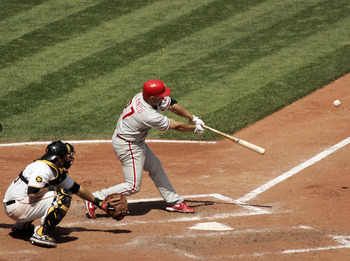 PITTSBURGH, PA - JUNE 05:  Placido Polanco #27 of the Philadelphia Phillies hits an RBI single against the Pittsburgh Pirates during the game on June 5, 2011 at PNC Park in Pittsburgh, Pennsylvania.  (Photo by Justin K. Aller/Getty Images)