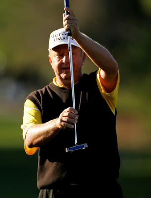 PALM HARBOR, FL - MARCH 8:  Billy Mayfair lines up a birdie putt on the 16th hole during the third round of the PODS Championship at Innisbrook Resort and Golf Club March 8, 2008 in Palm Harbor, Florida.  (Photo by Sam Greenwood/Getty Images)