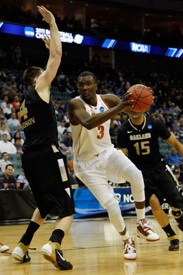 TULSA, OK - MARCH 18:  Jordan Hamilton #3 of the Texas Longhorns drives with the ball against Will Hudson #4 of the Oakland Golden Grizzlies during the second round of the 2011 NCAA men's basketball tournament at BOK Center on March 18, 2011 in Tulsa, Okl