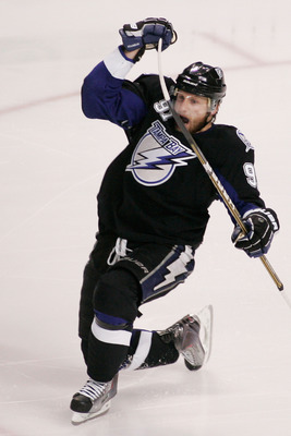 TAMPA, FL - MAY 25:  Steven Stamkos #91 of the Tampa Bay Lightning celebrates his third period goal against the Boston Bruins in Game Six of the Eastern Conference Finals during the 2011 NHL Stanley Cup Playoffs at St Pete Times Forum on May 25, 2011 in T